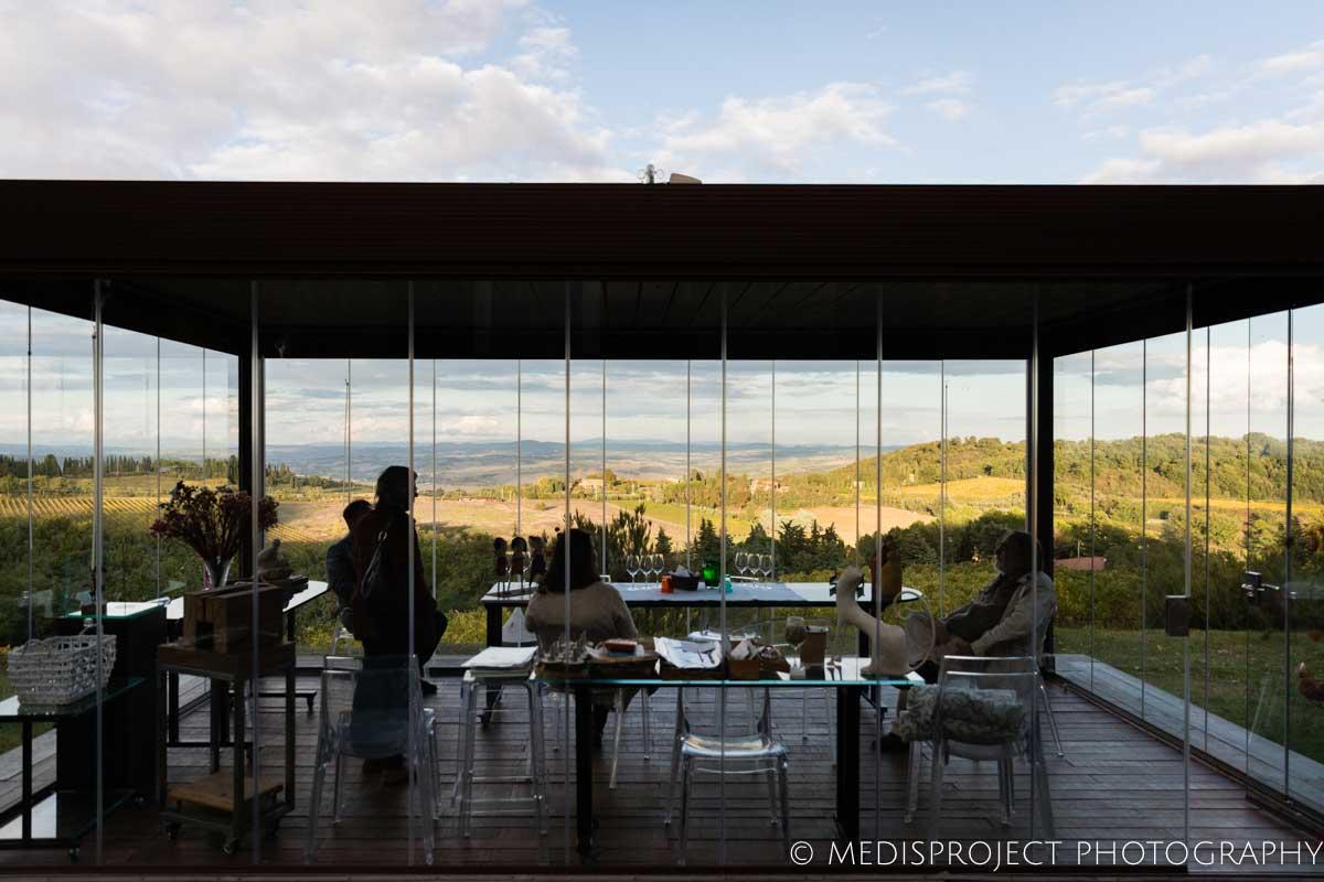 glass gazebo at NostraVita's winery in Tuscany