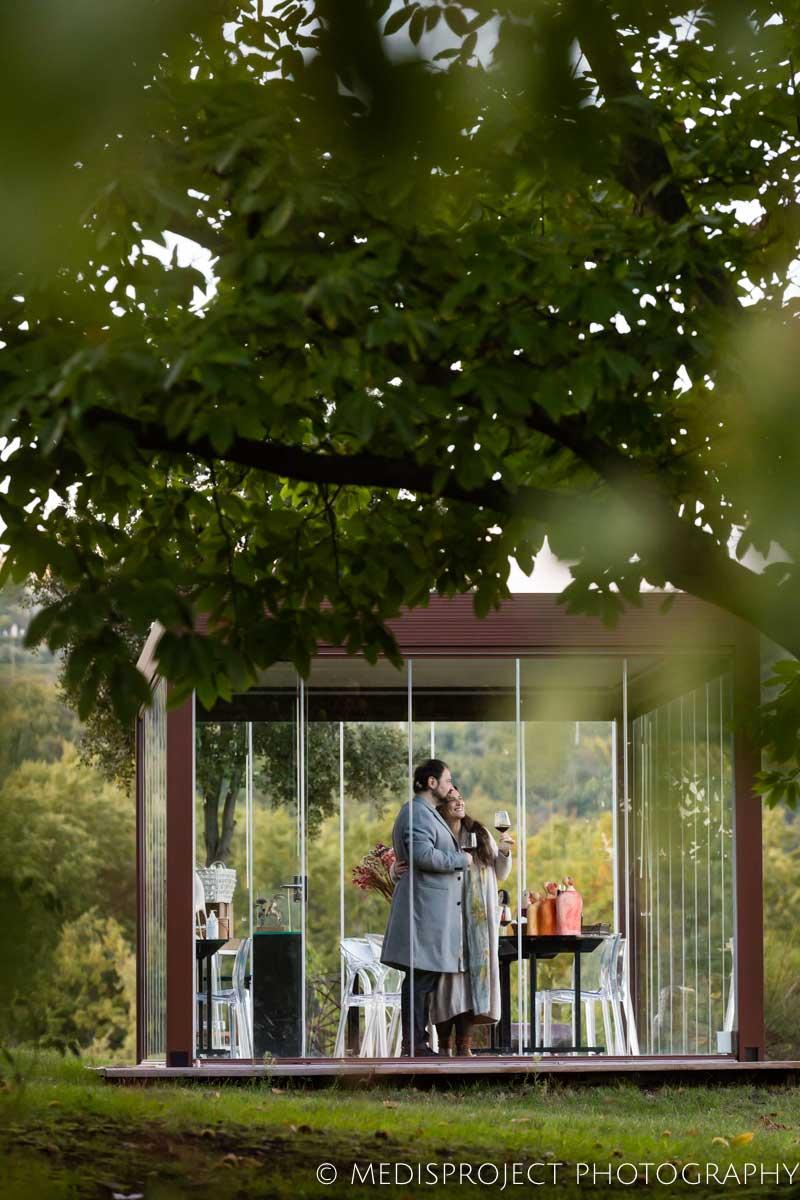 NostraVita's winery glass gazebo under the trees