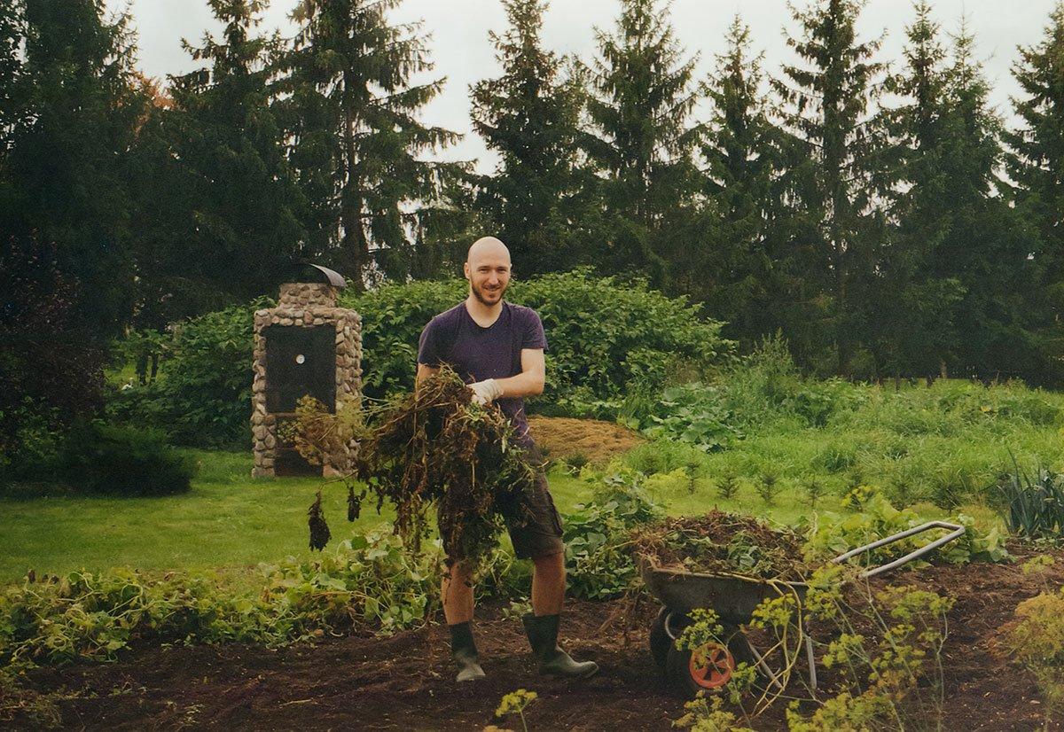 man working in the vegetable garden
