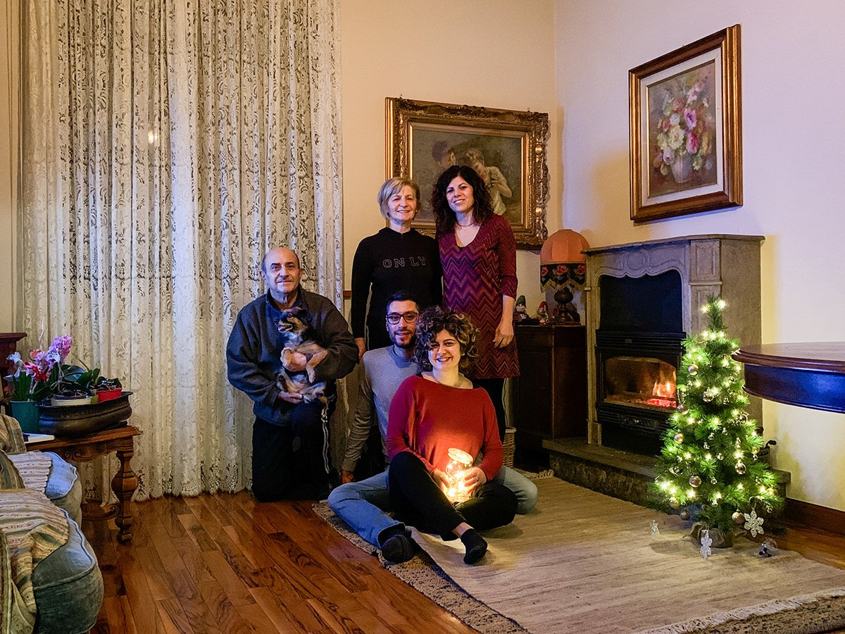 remote family portrait in a old-style living room