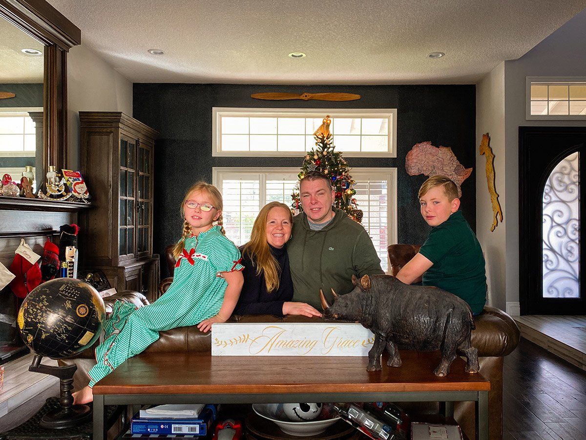 American family portrait taken remotely