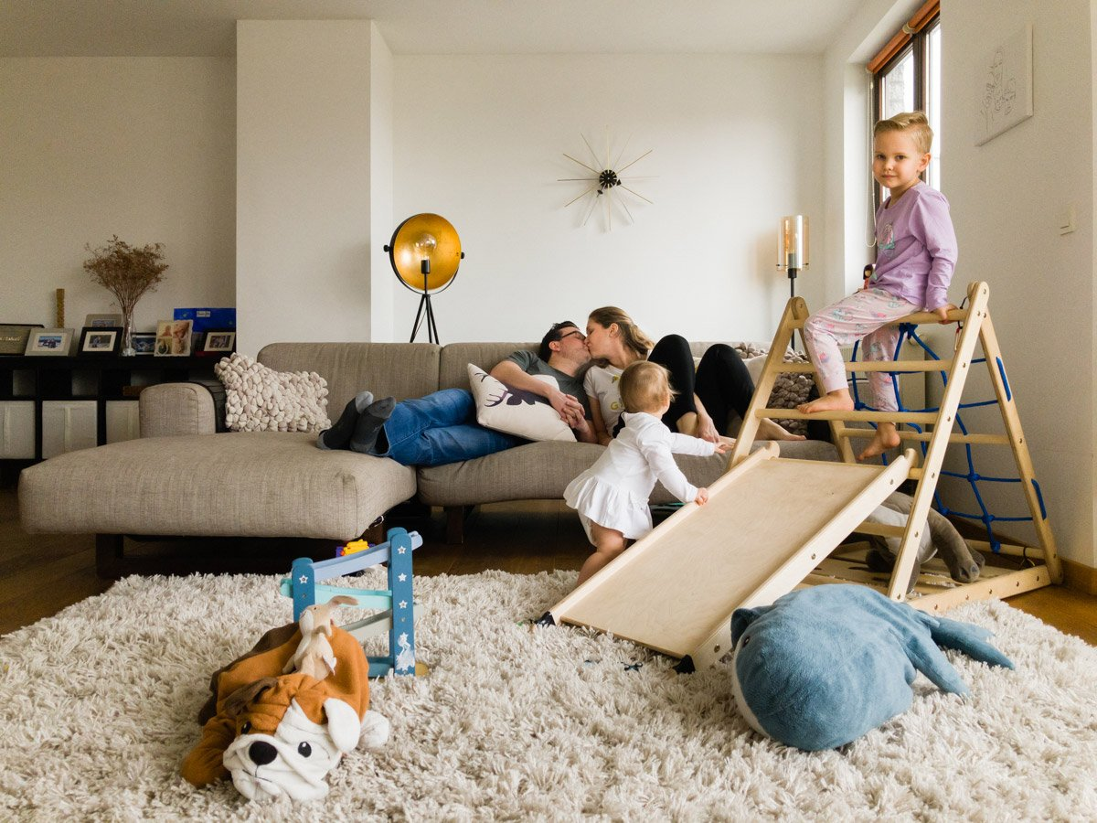 Online candid family portrait with children