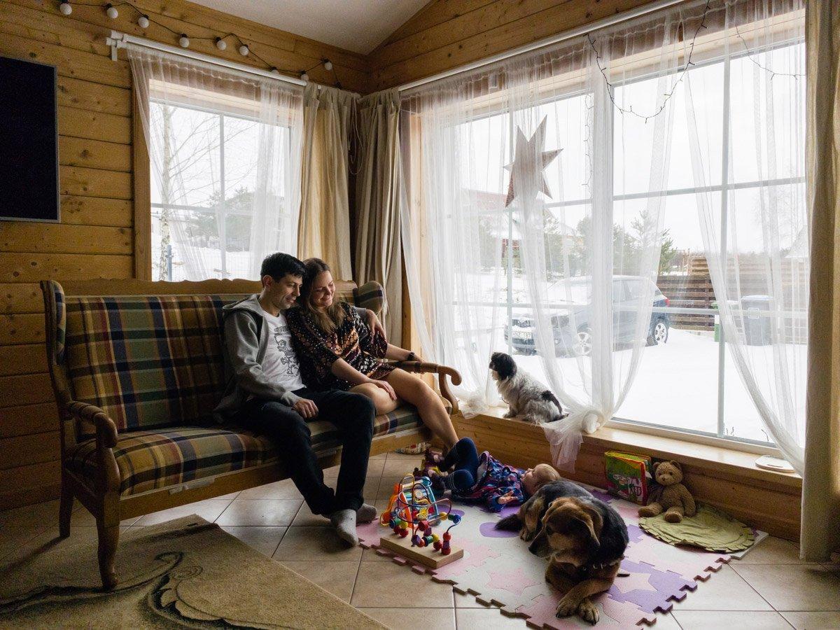 A remote family portrait in winter