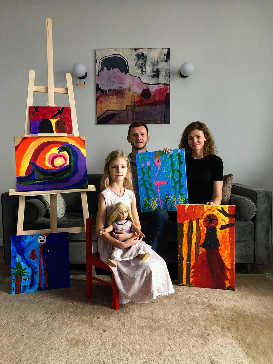 remote family portrait with colorful paintings