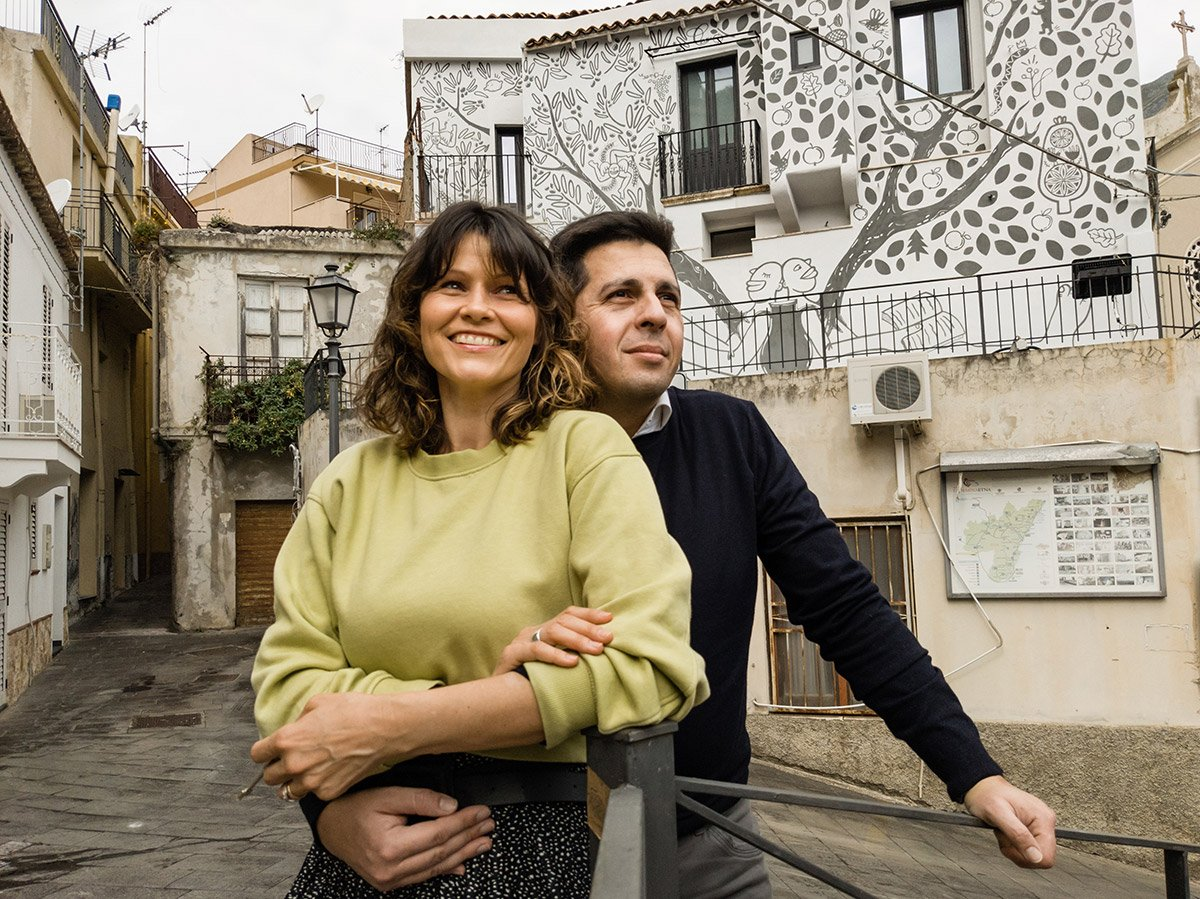Simona Crisafulli and her husband in Itala, Sicily