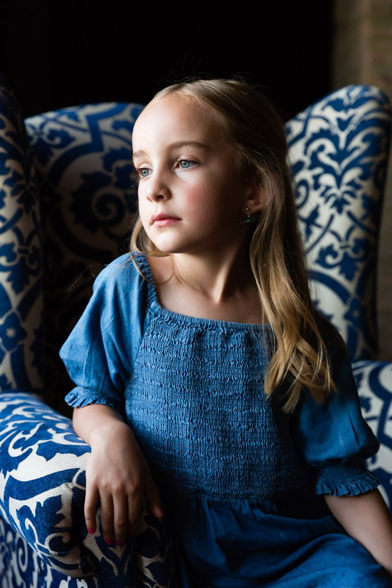 natural light indoor portrait of a young girl