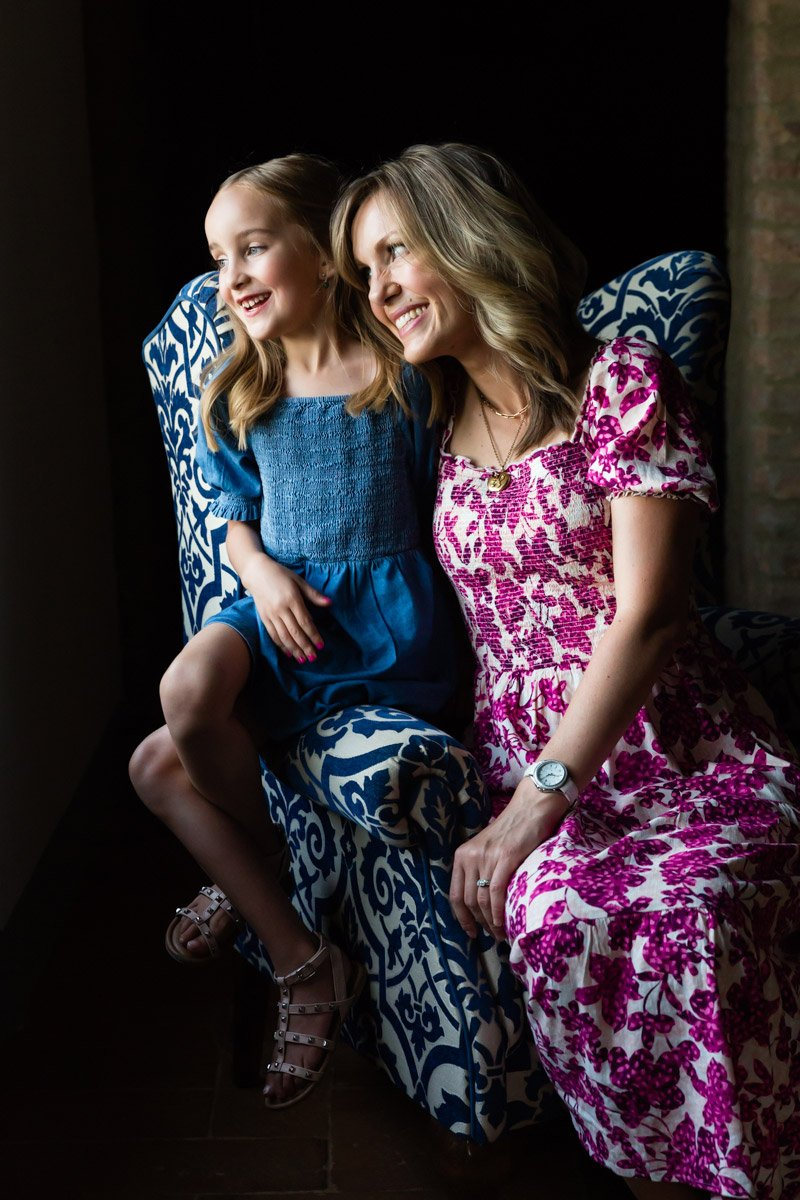 natural light indoor portrait of a mother and her daughter