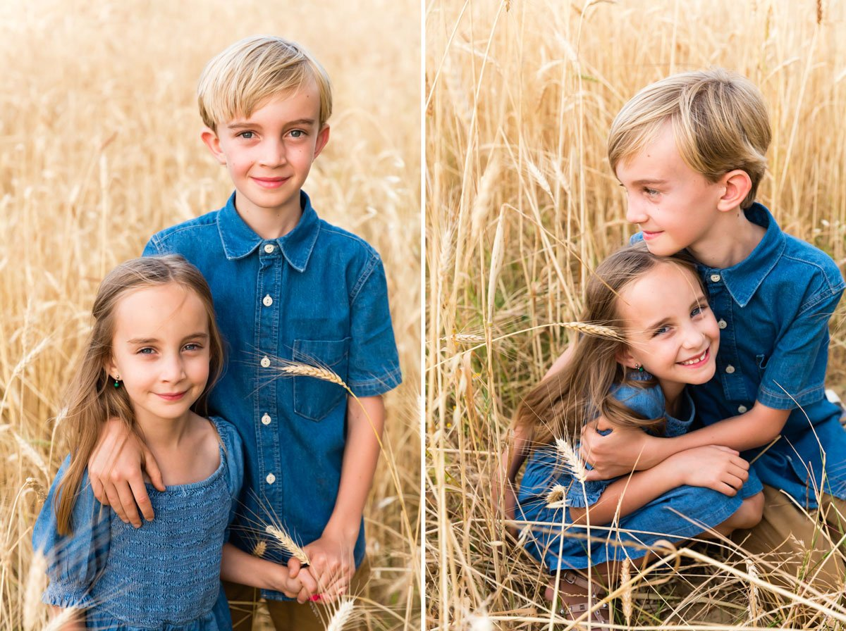 siblings portrait on holiday in a wheat field