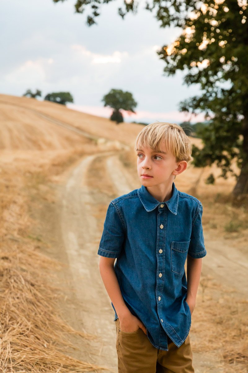 portrait of a boy on holiday in Tuscany