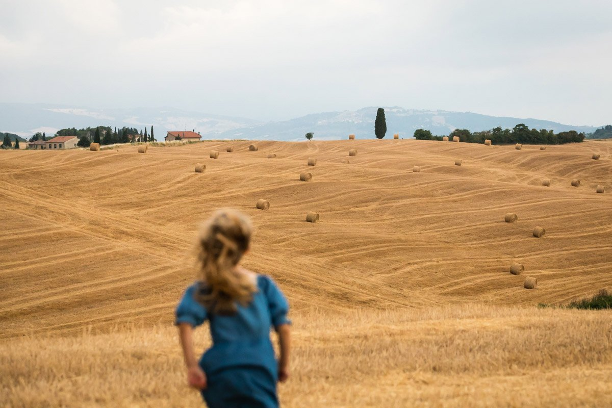 hay bales in a Tuscan field at summer