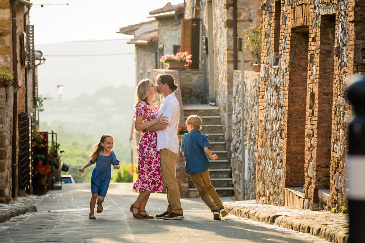 family on vacation walking in Montefollonico